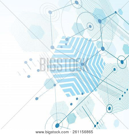 Bauhaus art dimensional composition, perspective blue modular vector backdrop with honeycombs. Retro style pattern, graphic backdrop for use as booklet cover template. poster
