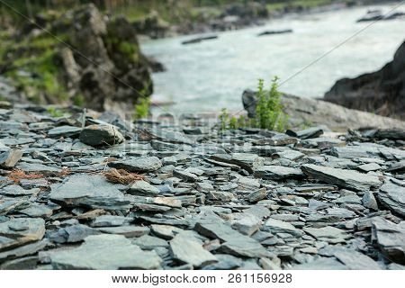 Rocky Trail In Mountainous Terrain During The Day For Travelers, Hiking In The Fresh Air, On The Bac