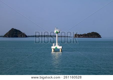 White Buoy Navigation Or Lateral Marks Floating In The Sea,gulf Of Thailand.
