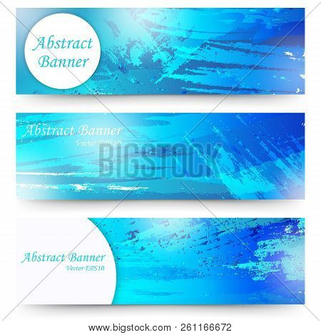 Set Of Blue Watercolor Abstract Banners. Isolated On White Background.