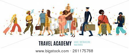 Travel Academy Concept With Travel Advice Symbols Flat Isolated Vector Illustration