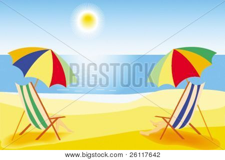 couple man and woman vacation on beach in chaise longue