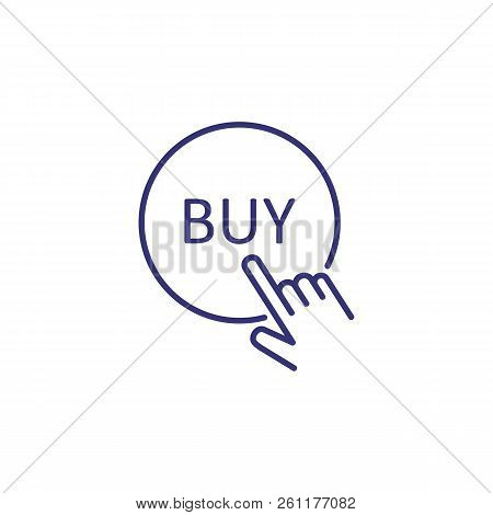 Hand Pushing Buy Button Line Icon. Online Shop, Buying, Sale. Shopping Concept. Vector Illustration