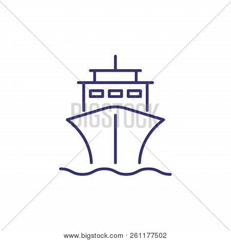 Ship Line Icon. Steamer, Cruise, Liner. Transport Concept. Vector Illustration Can Be Used For Topic