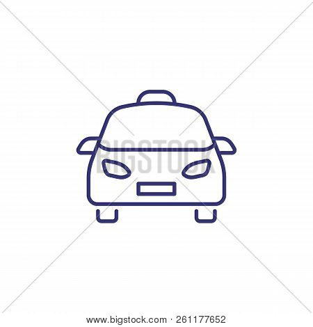Taxi Line Icon. Cab, Automobile, Taxi Order Service. Transport Concept. Vector Illustration Can Be U