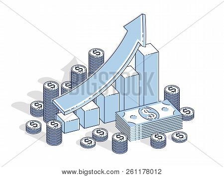 Success And Income Growing Up Concept, Growth Chart Stats Bar With Cash Money Stack Isolated On Whit