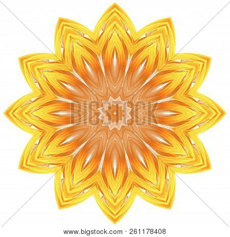 Abstract Fractal Futuristic Orange Pattern Isolated On White Background. Mandala Pattern Render Of A