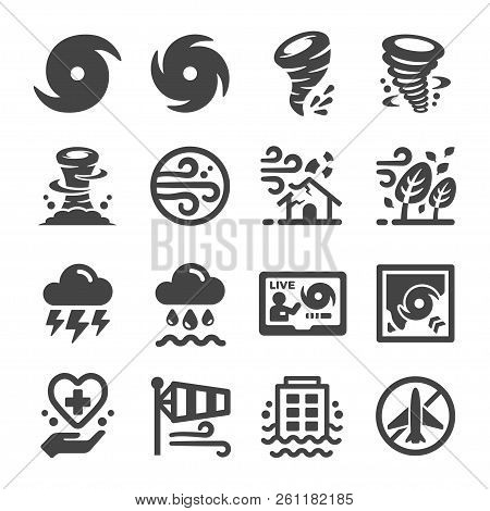 Storm And Hurricane Icon Set Vector And Illustration