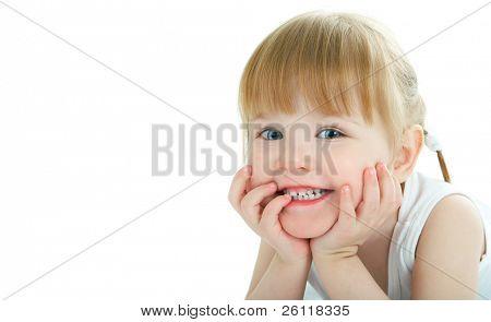 visage de bébé beauté sur fond blanc - 3 ans