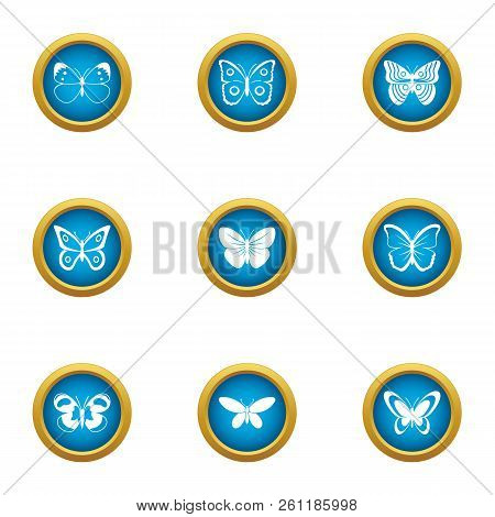 Night Insect Icons Set. Flat Set Of 9 Night Insect Vector Icons For Web Isolated On White Background
