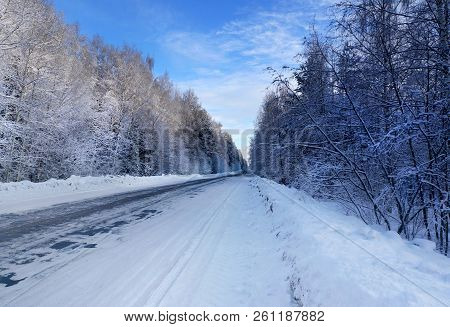 Winter Nature, Snowy Road In Forest Landscape
