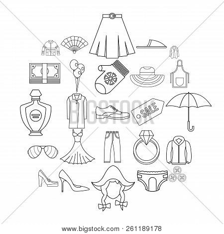 Evening Dress Icons Set. Outline Set Of 25 Evening Dress Vector Icons For Web Isolated On White Back