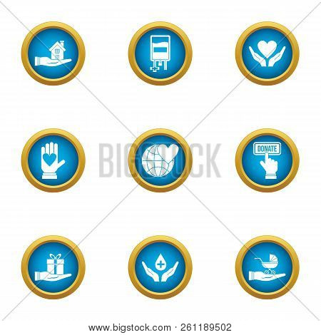 Rescue Children Icons Set. Flat Set Of 9 Rescue Children Vector Icons For Web Isolated On White Back