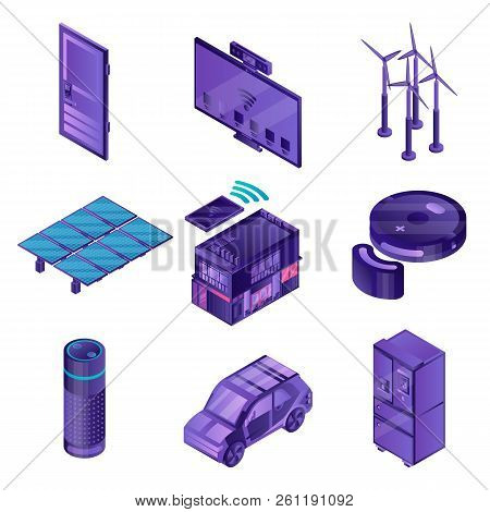 Intelligent Device Icon Set. Isometric Set Of Intelligent Device Vector Icons For Web Design Isolate