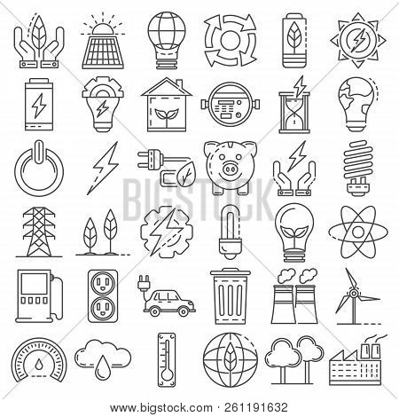 Energy Saving Icon Set. Outline Set Of Energy Saving Vector Icons For Web Design Isolated On White B