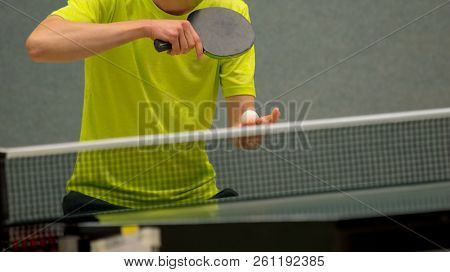 Table Tenns Player serving