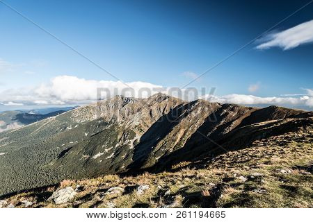 Nizke Tatry Mountains With Derese And Chopok Hills From Polana Hill In Slovakia During Nice Autumn D
