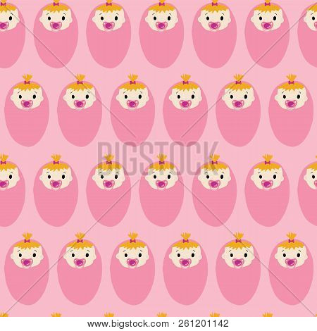Baby Girl Seamless Repeat Vector Pattern. Newborn Babies With Pacifiers On Pink Background. For Baby