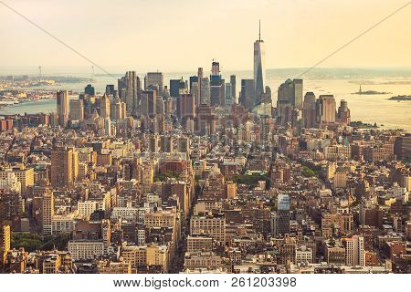 View Of Manhattan From The Top Angle At Sunset. New York City View From The Top. New York City With