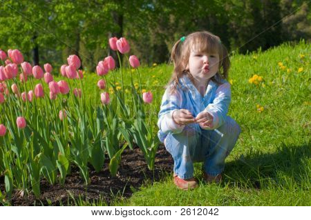 Girl Near Tulips
