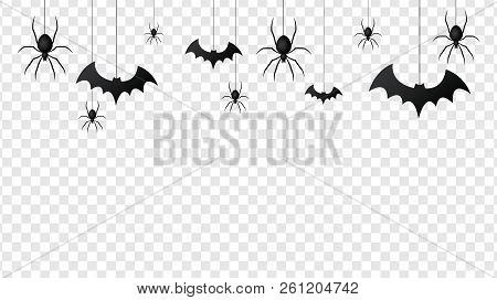 Vector Isolated Pattern With Hanging Spiders And Bats Spider On The Transparent Background.