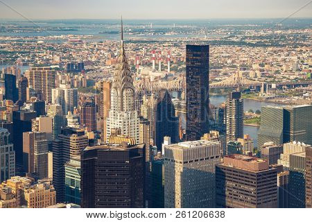 New York City Manhattan Street Aerial View With Skyscrapers. Skyscrapers New York. Skyscrapers Aeria