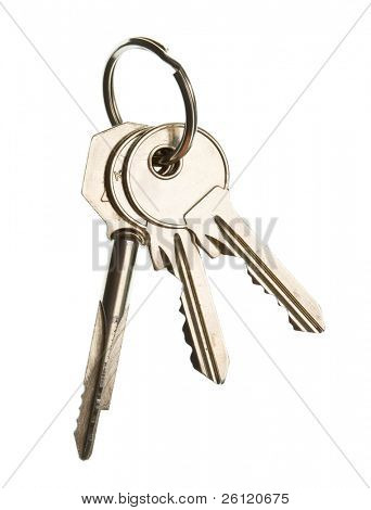 three key on ring over white background