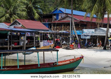 Koh Rong Island, Cambodia - April 7, 2018: View Of Seaside Village With Restaurants And Beach. Touri