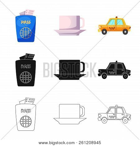 Vector Design Of Airport And Airplane Sign. Collection Of Airport And Plane Stock Vector Illustratio