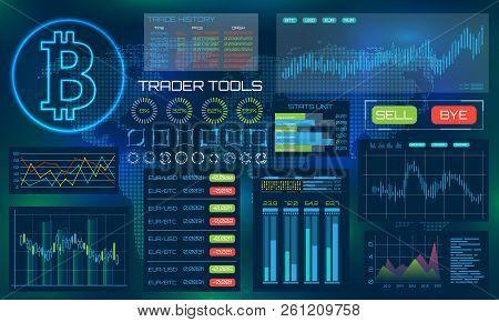 Bitcoin Technology Visualization. Futuristic Aesthetic Design. Bit Coin Btc Background With Hud Elem