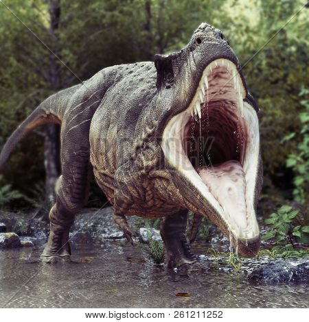 A Tyrannosaurus Rex Standing In Water With An Aggressive Stance And A Woods Background. 3d Rendering