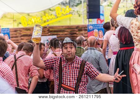 Koblenz Germany -26.09.2018 People Party At Oktoberfest In Europe During A Concert Typical Beer Tent
