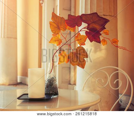 Autumn background - tree branch with colorful autumn leaves in the vase on the cafe table. Autumn composition in soft tones. Autumn still life with autumn leaves