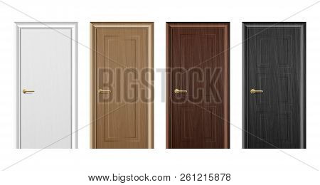 Vector Realistic Different Closed White, Brown And Black Wooden Door Icon Set Closeup Isolated On Wh