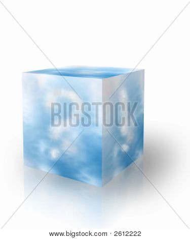 Cubical box with blue sky and clouds forming question and warning signs poster