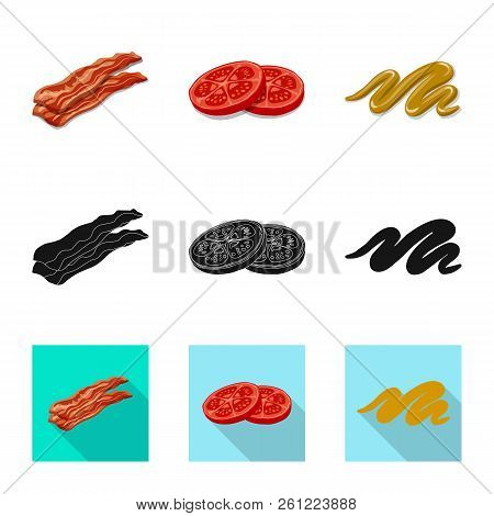 Isolated Object Of Burger And Sandwich Sign. Set Of Burger And Slice Stock Vector Illustration.