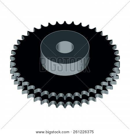 Duplex Chain Sprocket Wheel. Machine Parts. 3d Effect Vector
