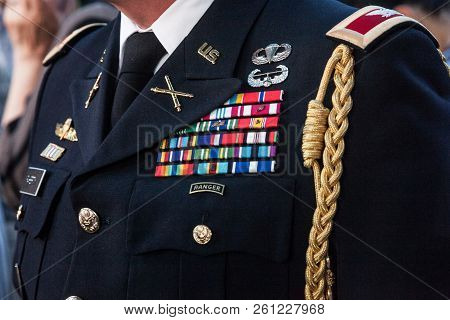 Belgrade, Serbia - July 14, 2018: Close Up On The Formal Uniform Of The Us Rangers On Display. The U
