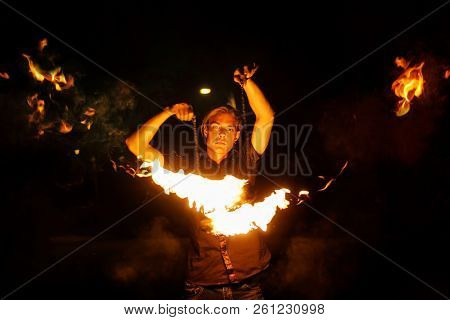 Fire Show. Fakir Dances With Poi. Night Performance