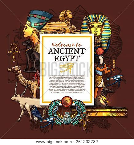 Ancient Egypt Travel, History And Culture Poster, Tourist Vacation Services, Architecture Landmarks