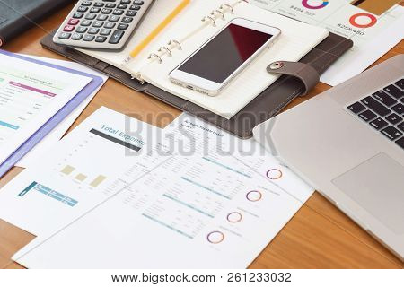 Business And Finance Concept Of Office Working Desk