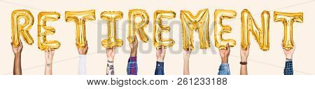 Yellow gold alphabet balloons forming the word retirement
