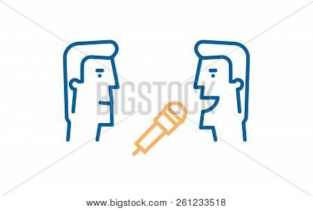 Journalist Interviewing Another Man With A Mic. Vector Thin Line Icon Illustration For Interviews, J