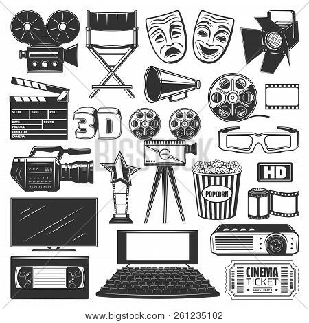 Cinema Or Movie Production Devices And Equipment Icons And Signs. Camera And Directors Chair, Projec