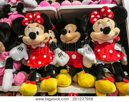 Orlando, Usa - May 10, 2018: The Colorful Toys At Disney Store Indoor Shopping Mall Orlando Premium