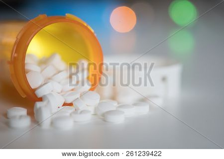 Medication pills in pills bottle