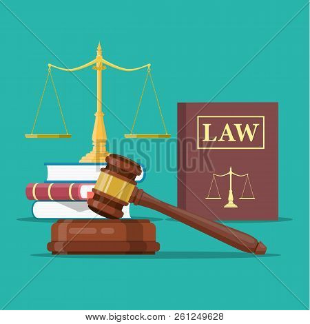 Law And Justice Set Icon, Scales Of Justice, Gavel And Books Conceptual Justice And Law. Vector Illu