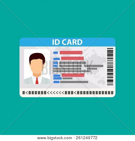 Id Card. Identity Card, National Id Card, Id Card With Electronic Chip. Vector Illustration In Flat