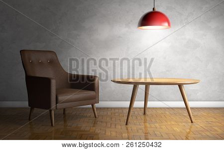 Interior With Leather Armchair, Ceiling Lamp And Side Table. 3d Rendering