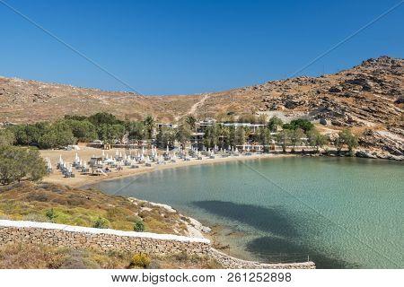 Sandy beach with amazing tranquil water on Paros island, Cyclades, Greece.